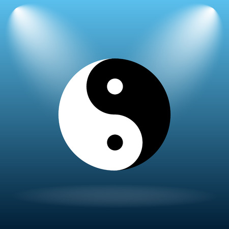 karma concept: Ying yang icon. Internet button on blue background.