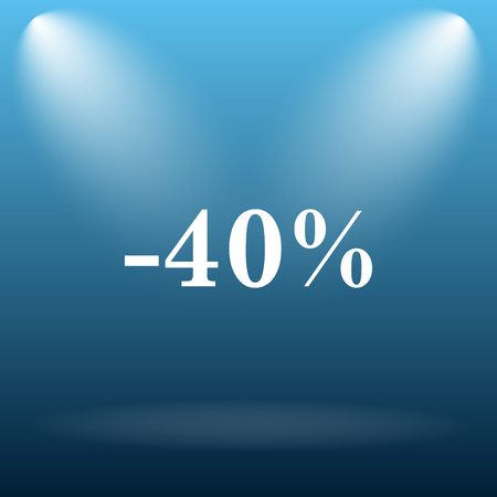 40: 40 percent discount icon. Internet button on blue background.