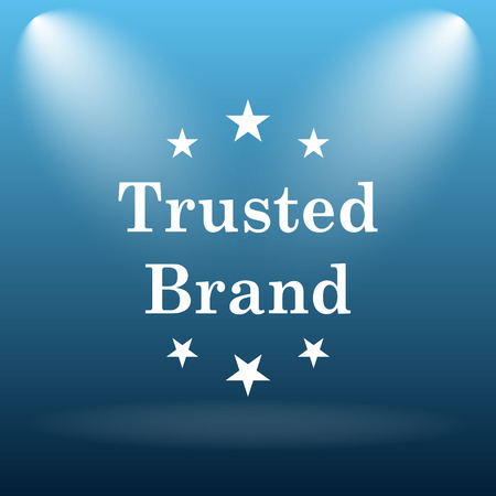 trusted: Trusted brand icon. Internet button on blue background.