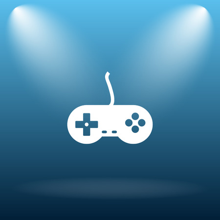 gamepad: Gamepad icon. Internet button on blue background.