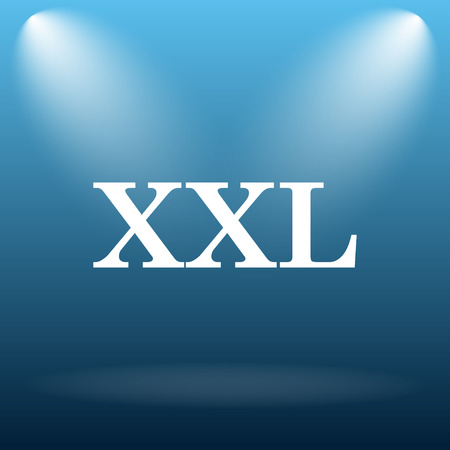 size specification: XXL  icon. Internet button on blue background.