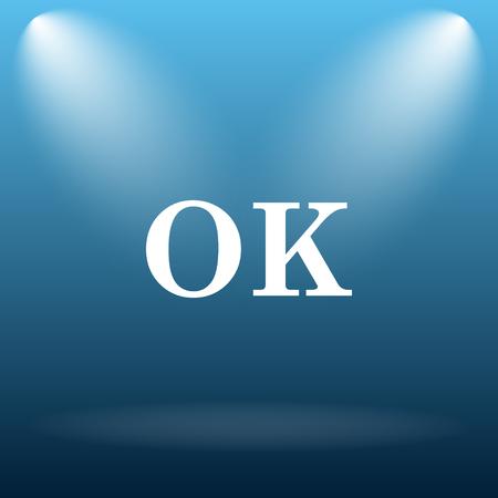ok icon: OK icon. Internet button on blue background. Stock Photo