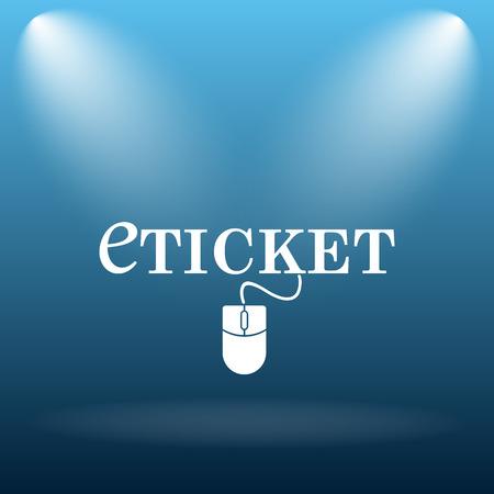 e ticket: E-ticket icon. Internet button on blue background. Stock Photo
