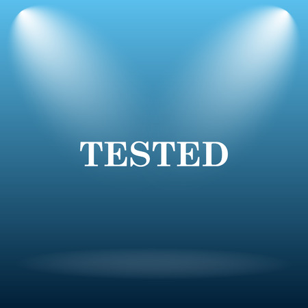 tested: Tested icon. Internet button on blue background.