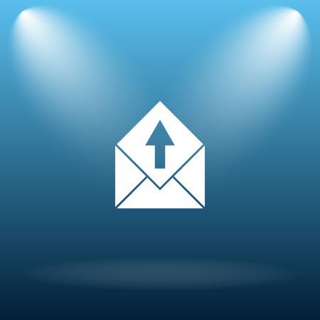 blue send: Send e-mail icon. Internet button on blue background.