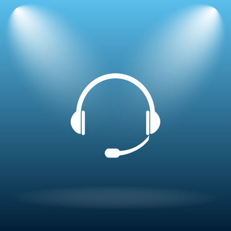 ear phones: Headphones icon. Internet button on blue background.