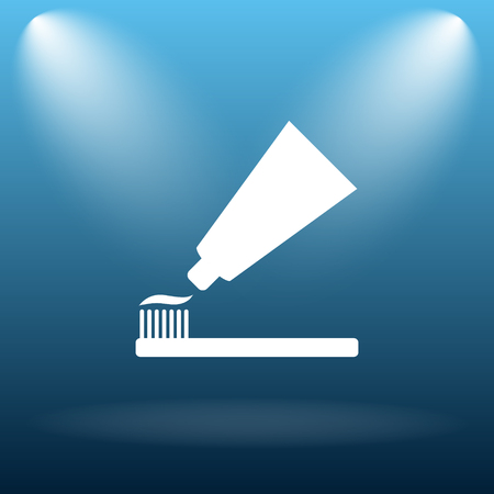 antibacterial: Tooth paste and brush icon. Internet button on blue background. Stock Photo