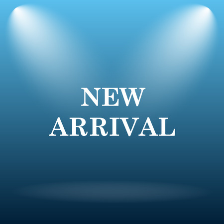 arrivals: New arrival icon. Internet button on blue background.