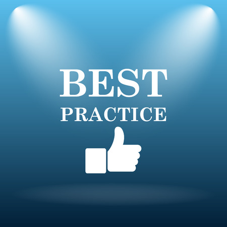 practice: Best practice icon. Internet button on blue background. Stock Photo