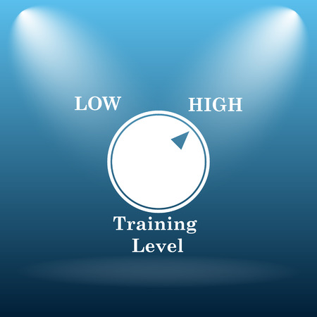 cognition: Training level icon. Internet button on blue background.