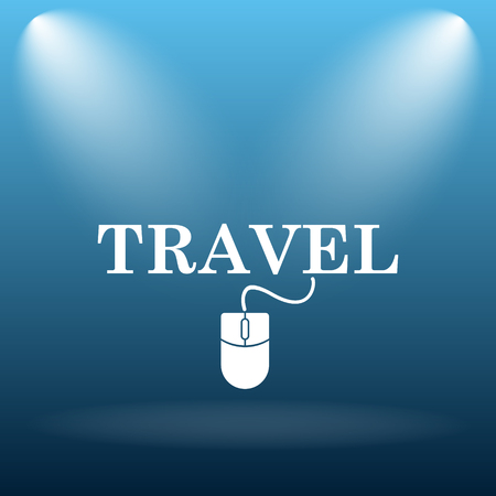 e ticket: Travel icon. Internet button on blue background. Stock Photo