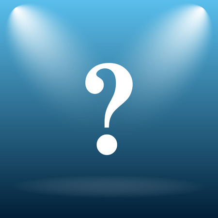 inquiry: Question mark icon. Internet button on blue background.