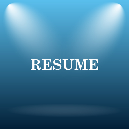 vacant sign: Resume icon. Internet button on blue background.