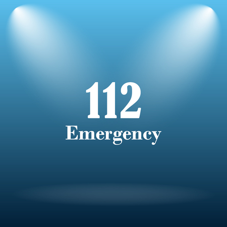 bad service: 112 Emergency icon. Internet button on blue background.