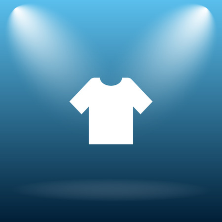 t shirt blue: T-shirt icon. Internet button on blue background. Stock Photo