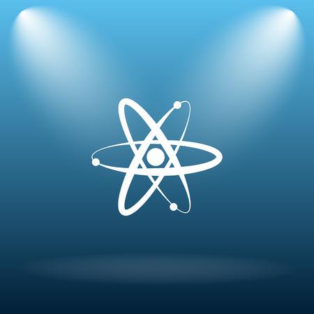 gamma radiation: Atoms icon. Internet button on blue background. Stock Photo