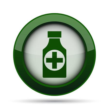 apothecary: Pills bottle  icon. Internet button on white background. Stock Photo