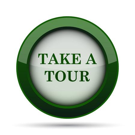 take: Take a tour icon. Internet button on white background.