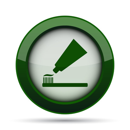 antibacterial: Tooth paste and brush icon. Internet button on white background.
