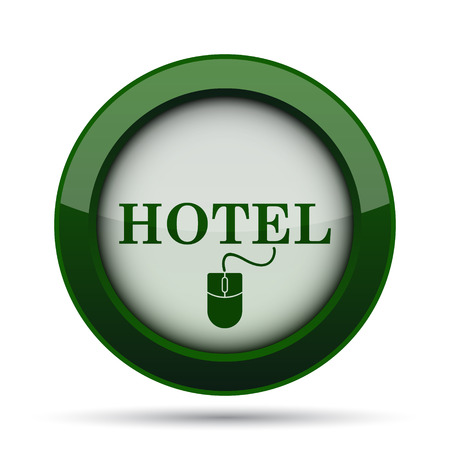 e ticket: Hotel icon. Internet button on white background. Stock Photo