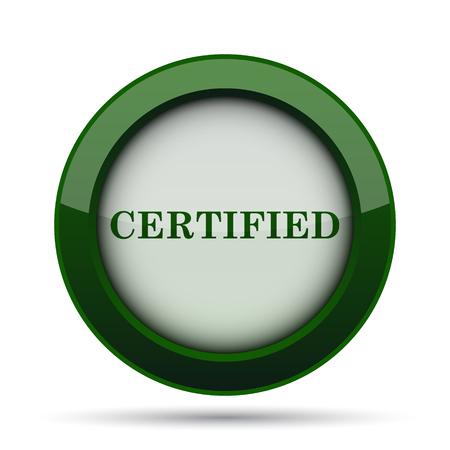 ratification: Certified icon. Internet button on white background. Stock Photo