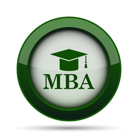 master degree: MBA icon. Internet button on white background.