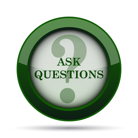questions: Ask questions icon. Internet button on white background.