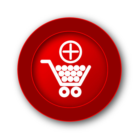 e commerce icon: Add to shopping cart icon. Internet button on white background.