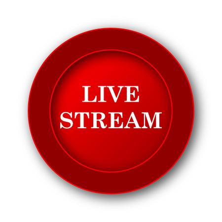 news cast: Live stream icon. Internet button on white background. Stock Photo