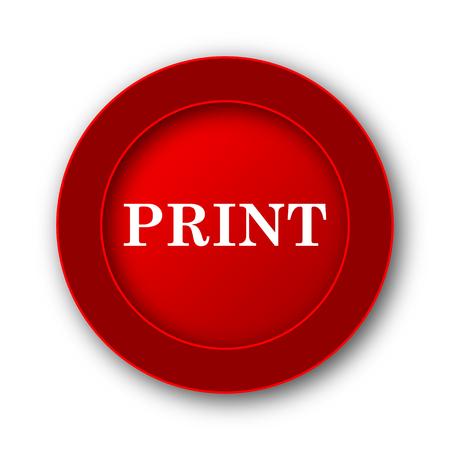 red button: Print icon. Internet button on white background. Stock Photo
