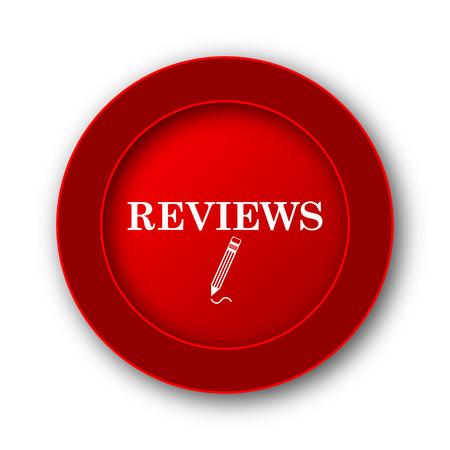 reviews: Reviews icon. Internet button on white background. Stock Photo