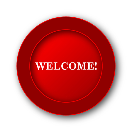 bill board: Welcome icon. Internet button on white background. Stock Photo