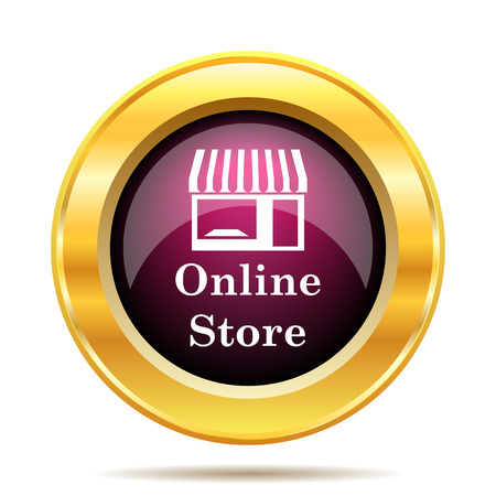 caf: Online store icon. Internet button on white background. Stock Photo