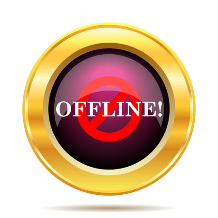 offline: Offline icon. Internet button on white background.