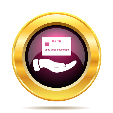 holding credit card: Hand holding credit card icon. Internet button on white background.