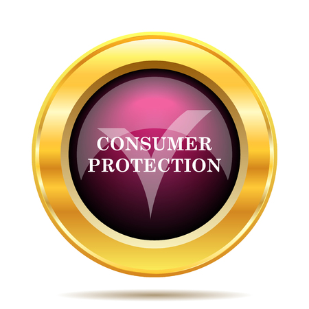 consumer: Consumer protection icon. Internet button on white background.
