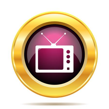 retro tv: Retro tv icon. Internet button on white background. Stock Photo