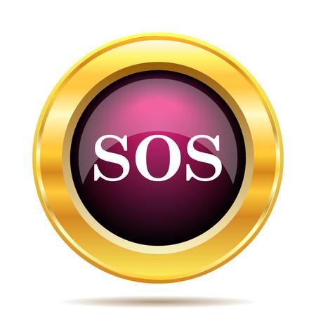 ring buoy: SOS icon. Internet button on white background. Stock Photo