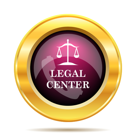 judiciary: Legal center icon. Internet button on white background.