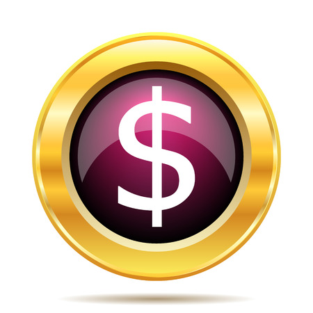 us coin: Dollar icon. Internet button on white background. Stock Photo