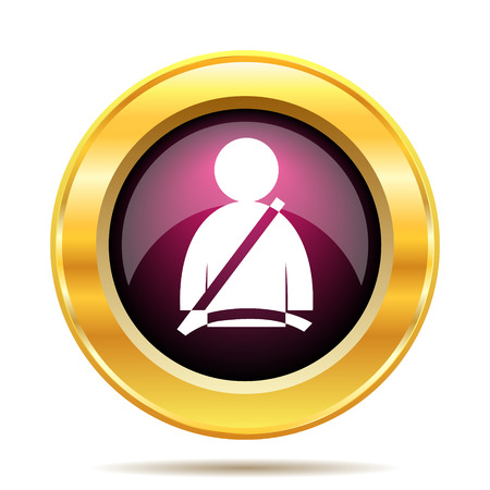 precautions: Safety belt icon. Internet button on white background.