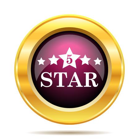 5 star icon. Internet button on white background.