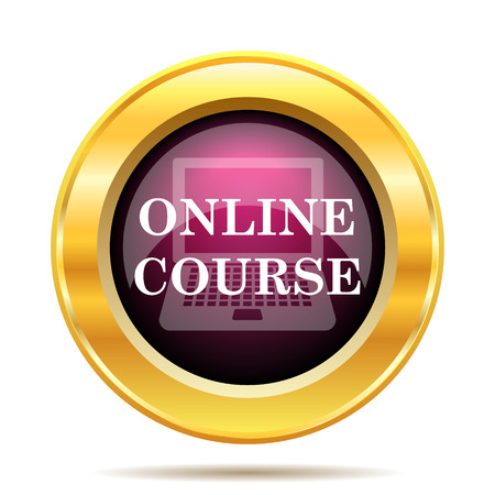 computer support: Online course icon. Internet button on white background.