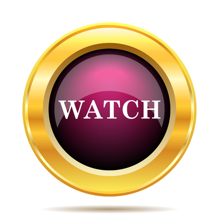 gold record: Watch icon. Internet button on white background. Stock Photo