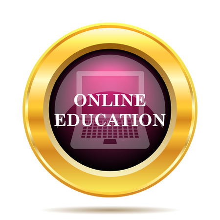 computer learning: Online education icon. Internet button on white background.