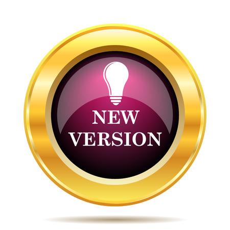 version: New version icon. Internet button on white background. Stock Photo