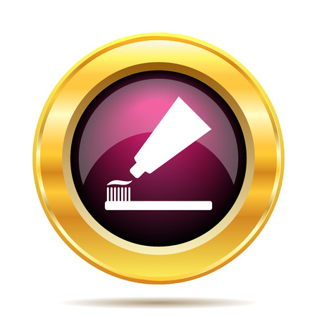 tooth paste: Tooth paste and brush icon. Internet button on white background.