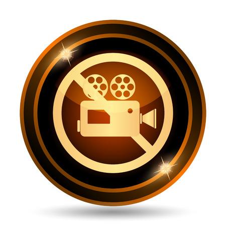 forbidden: Forbidden video camera icon. Internet button on white background. Stock Photo