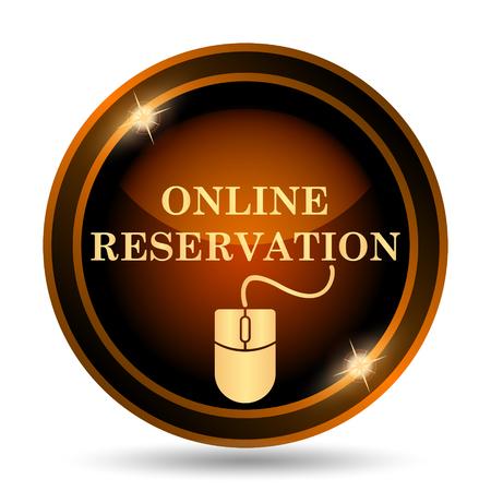 icône de réservation en ligne. bouton Internet sur fond blanc. Banque d'images