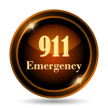 emergencia medica: 911 icono de Emergencia. Botón de internet sobre fondo blanco.